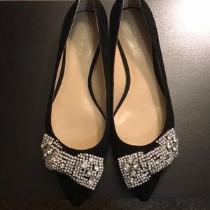 Black Suede and Rhinestone Bow Flats